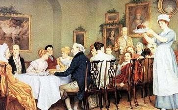 Regency Christmas dinner complete with pudding